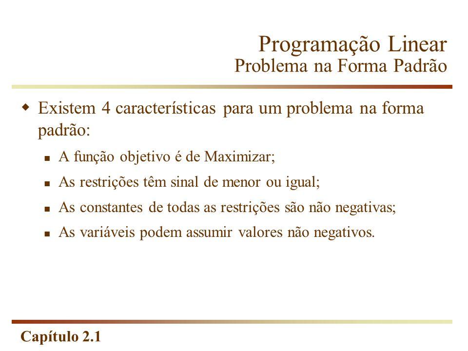 Programação Linear Problema na Forma Padrão