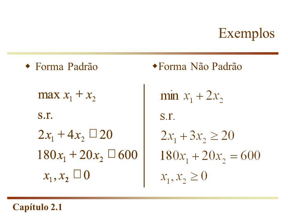 Exemplos , 600 20 180 4 2 s.r. max ³ £ + x max x + x s.r. 2 x + 4 x £