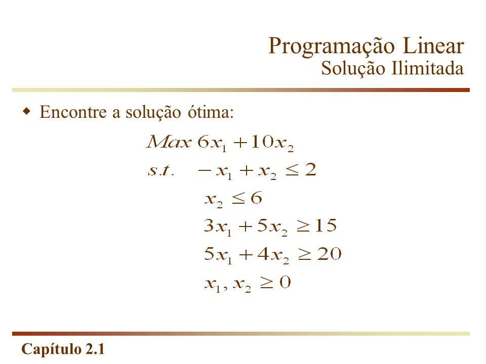 Programação Linear Solução Ilimitada