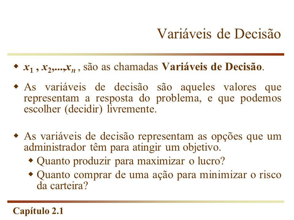 Variáveis de Decisão x1 , x2,...,xn , são as chamadas Variáveis de Decisão.