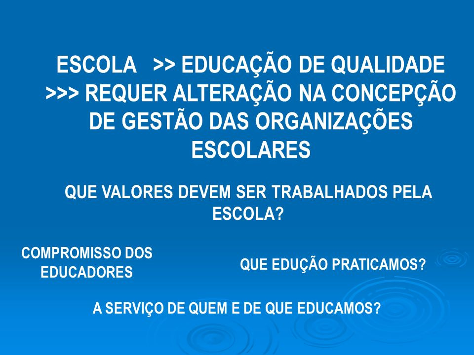ESCOLA >> EDUCAÇÃO DE QUALIDADE >>> REQUER ALTERAÇÃO NA CONCEPÇÃO DE GESTÃO DAS ORGANIZAÇÕES ESCOLARES