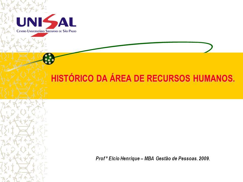 HISTÓRICO DA ÁREA DE RECURSOS HUMANOS.