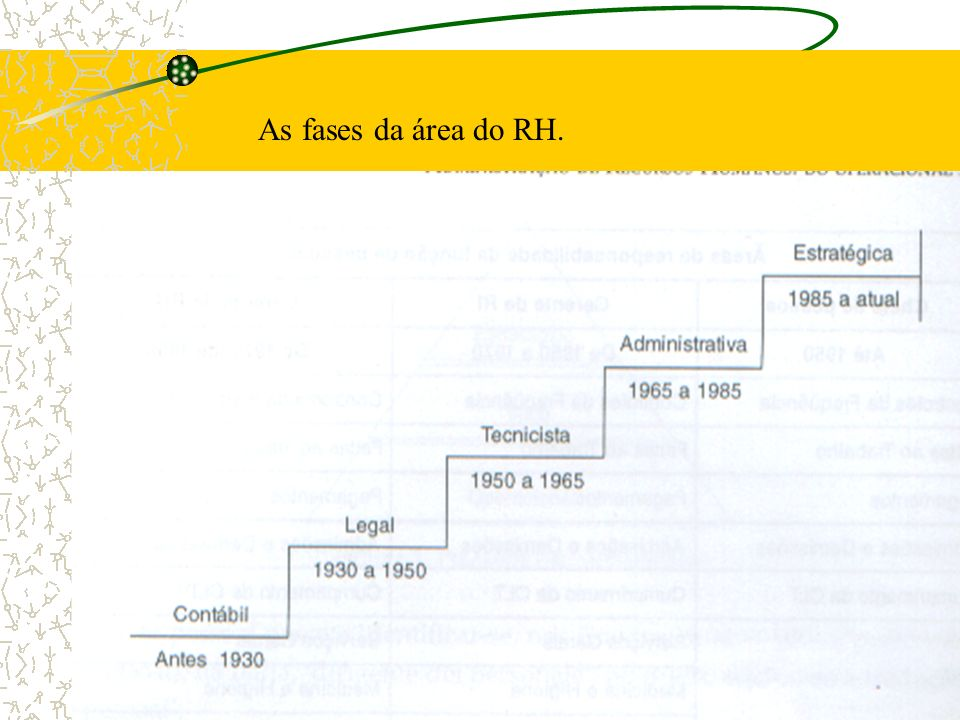 As fases da área do RH.