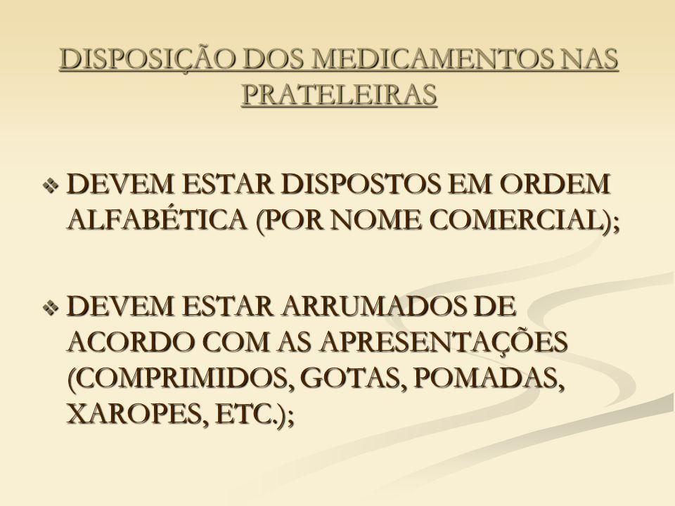 DISPOSIÇÃO DOS MEDICAMENTOS NAS PRATELEIRAS