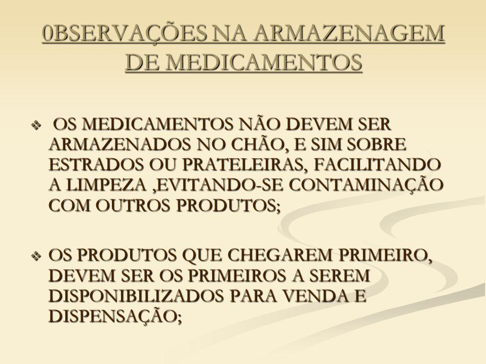 0BSERVAÇÕES NA ARMAZENAGEM DE MEDICAMENTOS