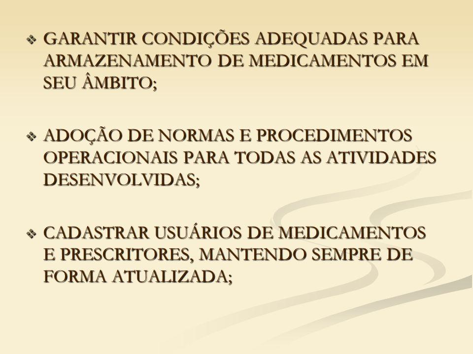 GARANTIR CONDIÇÕES ADEQUADAS PARA ARMAZENAMENTO DE MEDICAMENTOS EM SEU ÂMBITO;