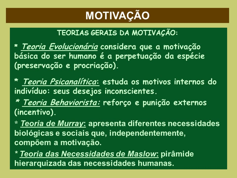 TEORIAS GERAIS DA MOTIVAÇÃO: