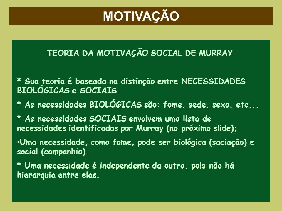 TEORIA DA MOTIVAÇÃO SOCIAL DE MURRAY