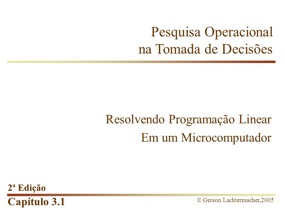 Resolvendo Programação Linear Em um Microcomputador