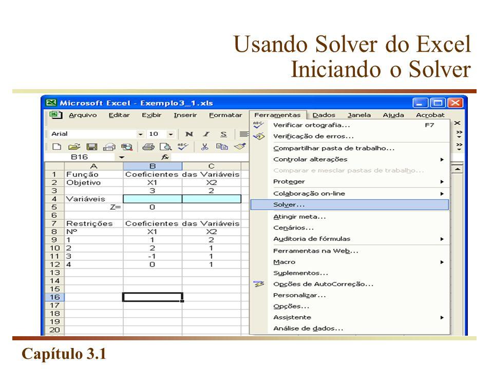 Usando Solver do Excel Iniciando o Solver