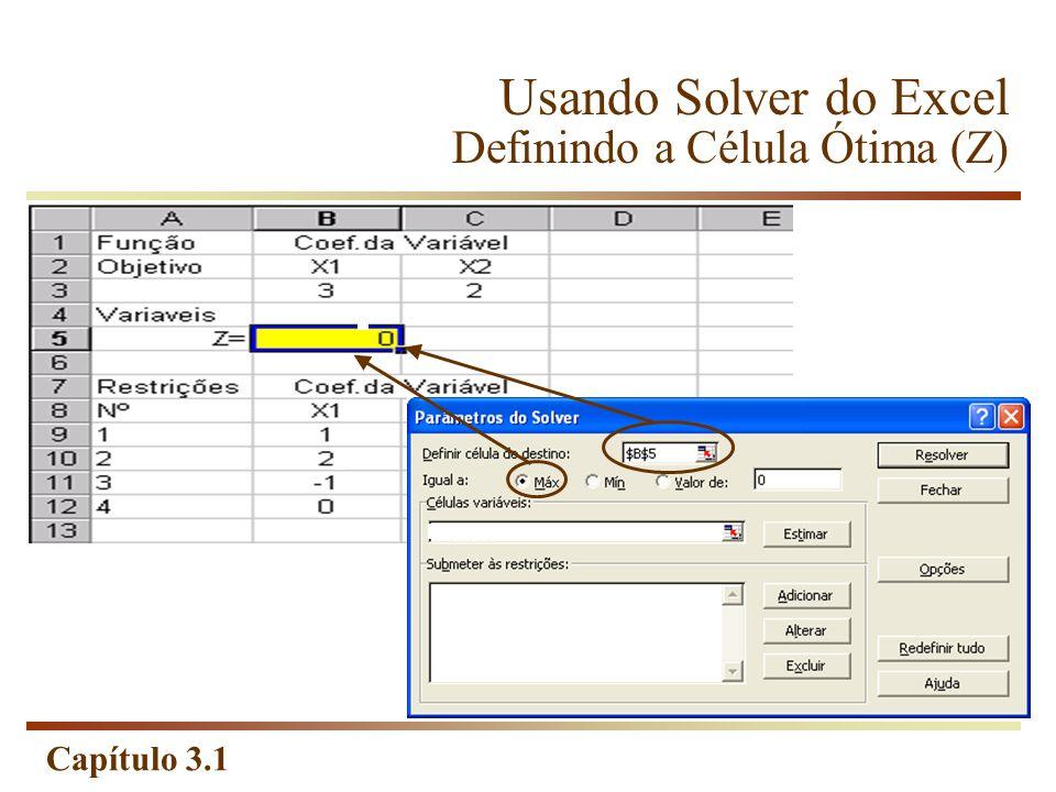 Usando Solver do Excel Definindo a Célula Ótima (Z)