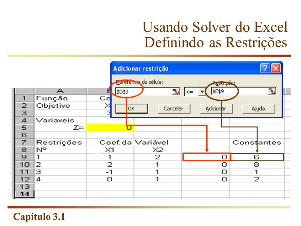 Usando Solver do Excel Definindo as Restrições