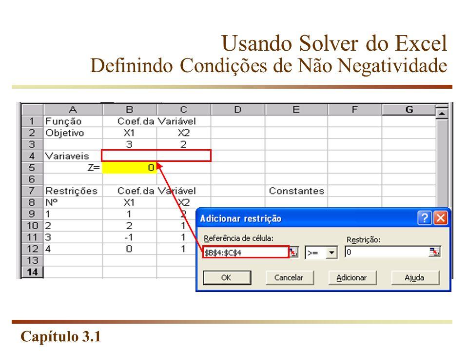 Usando Solver do Excel Definindo Condições de Não Negatividade