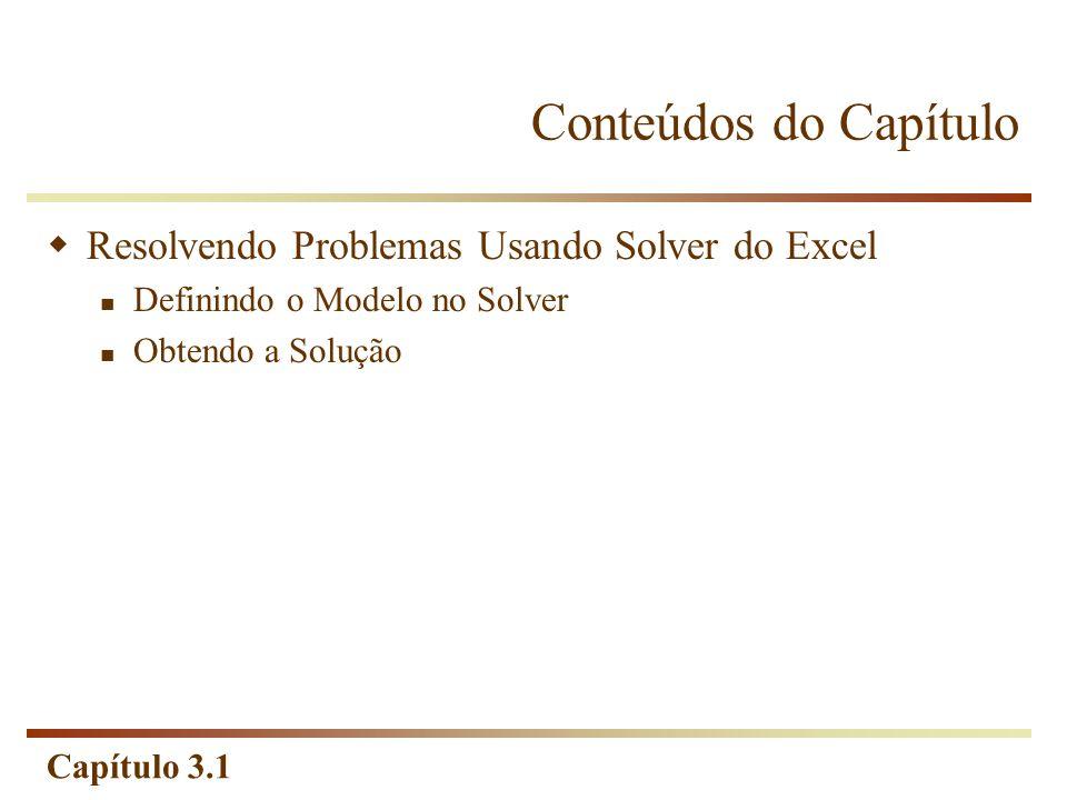 Conteúdos do Capítulo Resolvendo Problemas Usando Solver do Excel