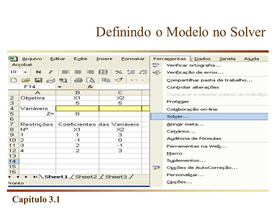 Definindo o Modelo no Solver