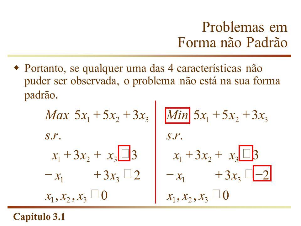 Problemas em Forma não Padrão
