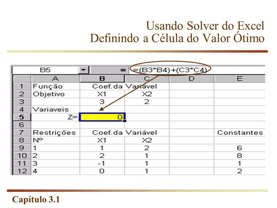Usando Solver do Excel Definindo a Célula do Valor Ótimo