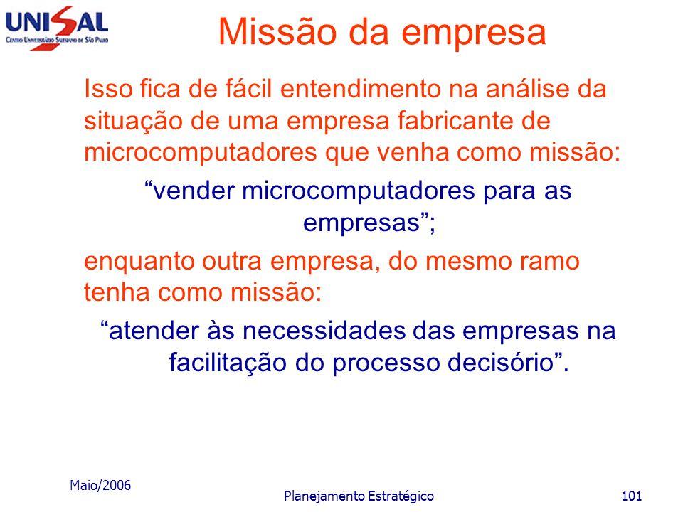 Missão da empresa Isso fica de fácil entendimento na análise da situação de uma empresa fabricante de microcomputadores que venha como missão: