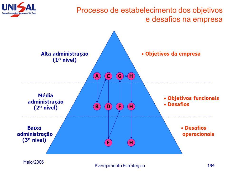 Processo de estabelecimento dos objetivos e desafios na empresa