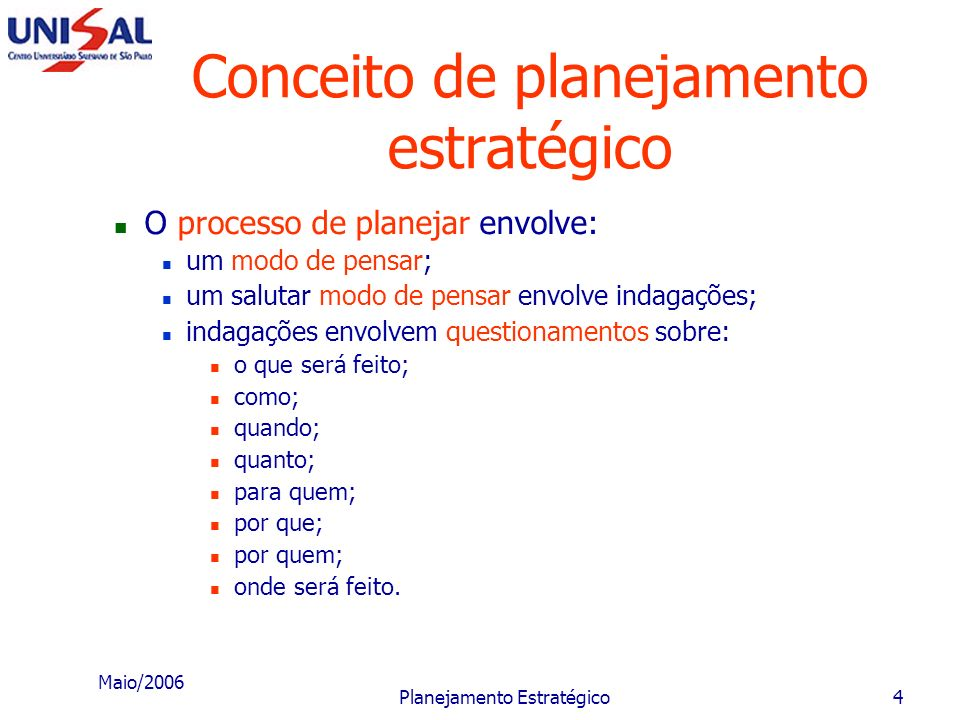 Conceito de planejamento estratégico