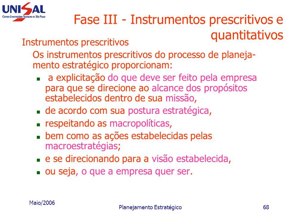 Fase III - Instrumentos prescritivos e quantitativos