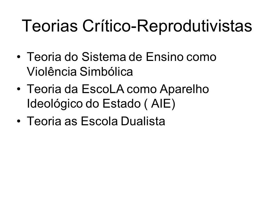 Teorias Crítico-Reprodutivistas