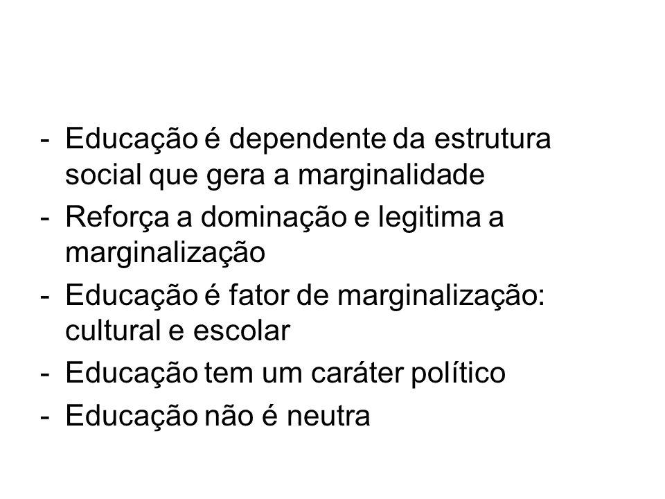 Educação é dependente da estrutura social que gera a marginalidade
