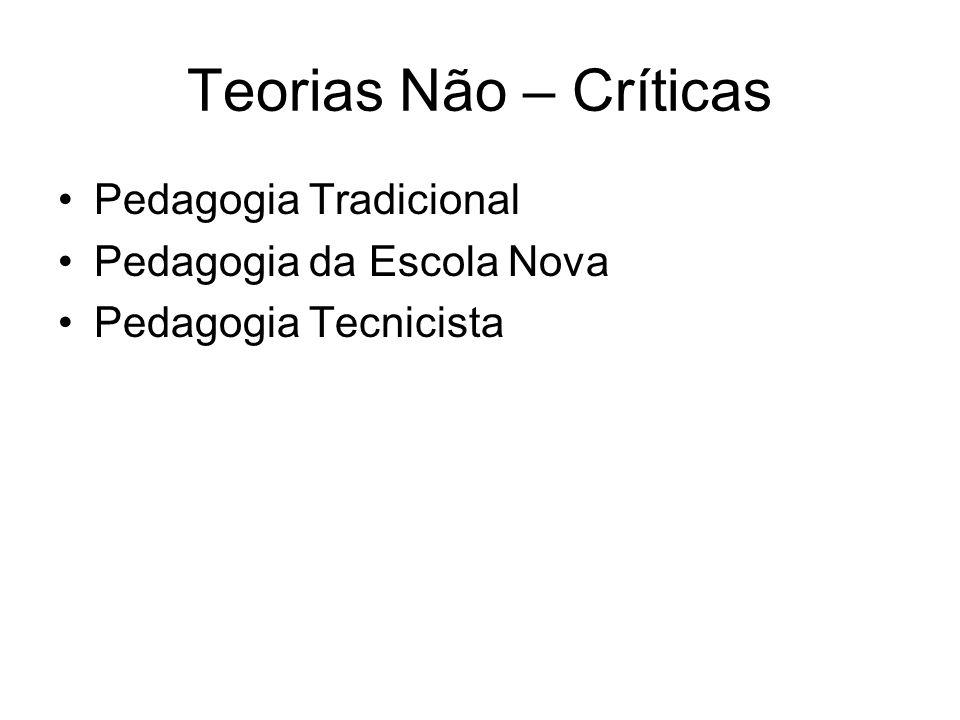 Teorias Não – Críticas Pedagogia Tradicional Pedagogia da Escola Nova