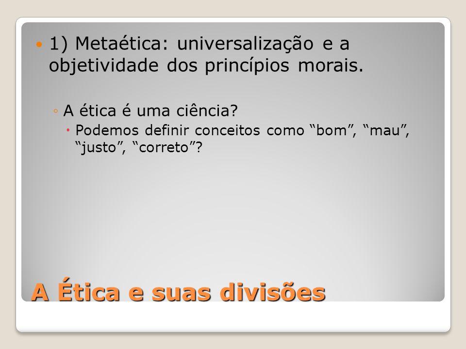 1) Metaética: universalização e a objetividade dos princípios morais.