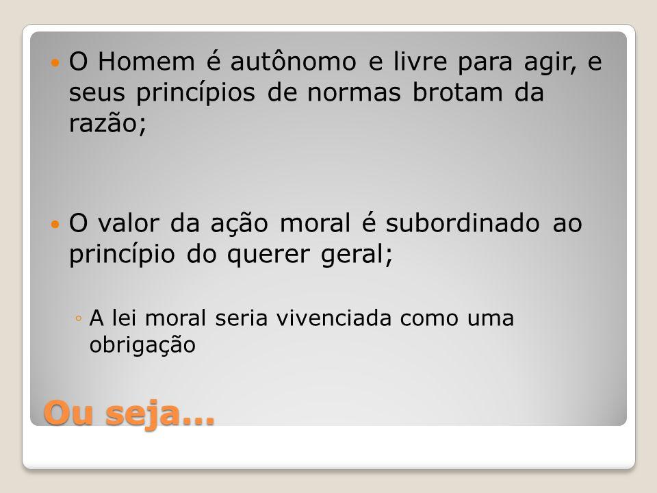 O Homem é autônomo e livre para agir, e seus princípios de normas brotam da razão;