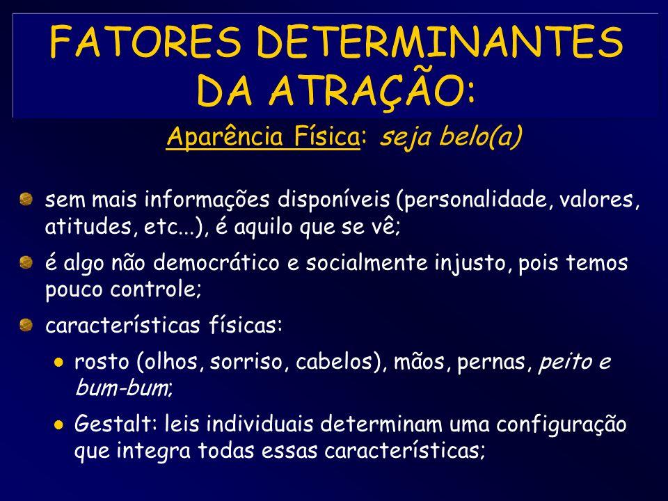 FATORES DETERMINANTES DA ATRAÇÃO: