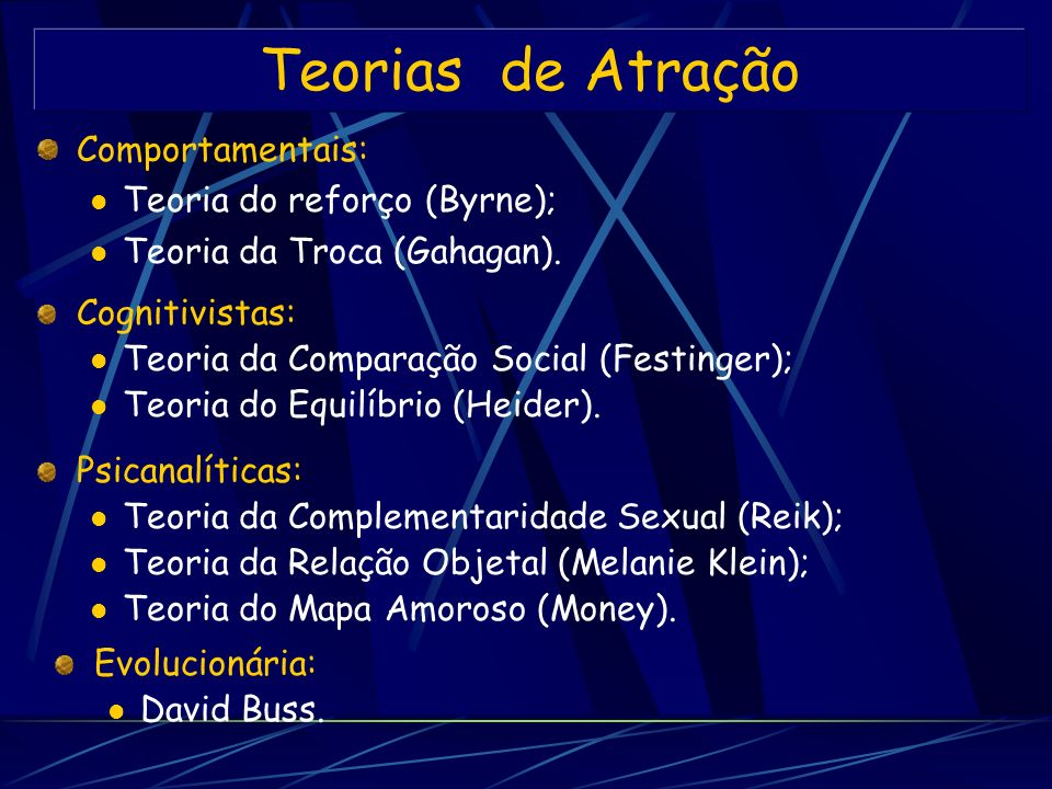 Teorias de Atração Comportamentais: Teoria do reforço (Byrne);