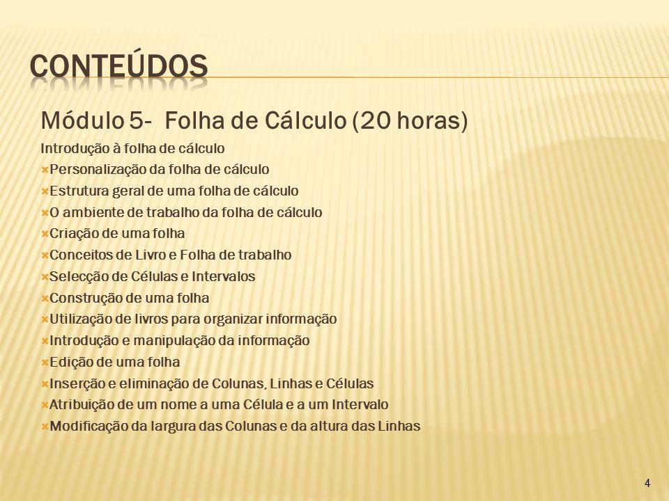 Conteúdos Módulo 5- Folha de Cálculo (20 horas)