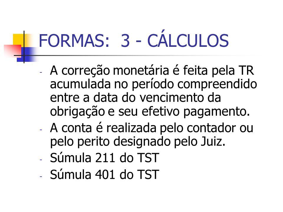 FORMAS: 3 - CÁLCULOS