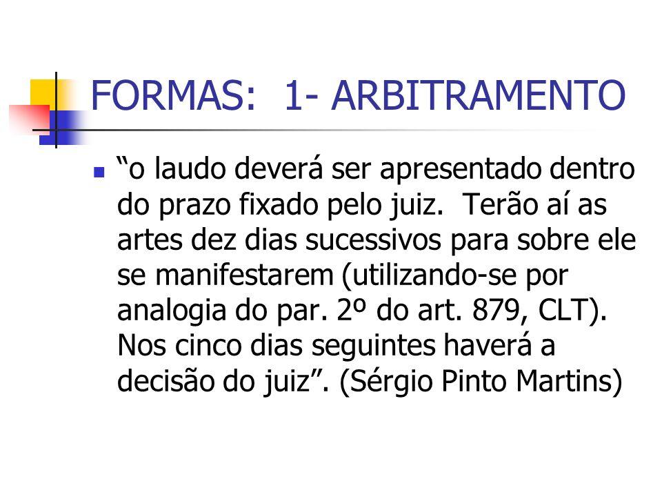 FORMAS: 1- ARBITRAMENTO