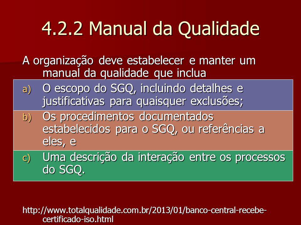 4.2.2 Manual da Qualidade A organização deve estabelecer e manter um manual da qualidade que inclua.