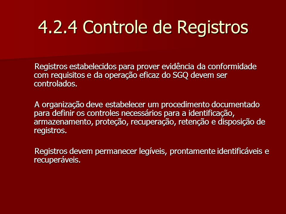 4.2.4 Controle de Registros
