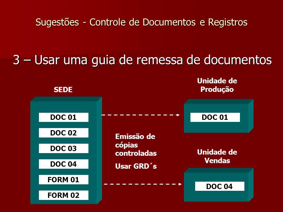 Sugestões - Controle de Documentos e Registros