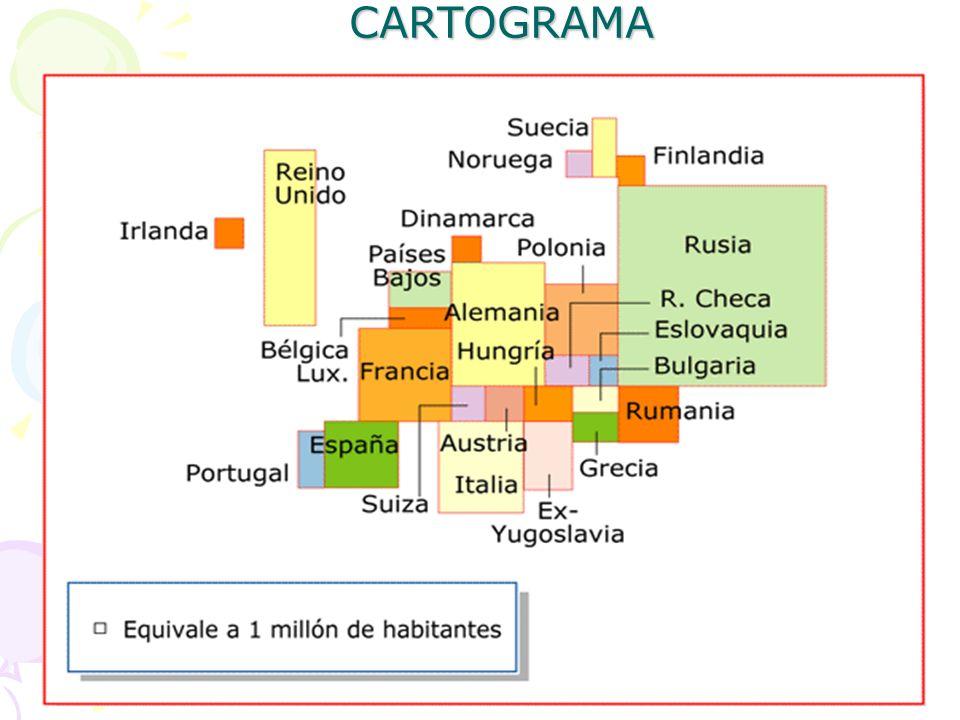 CARTOGRAMA São ilustrações relativas a cartas geográficas, em que as representações são feitas diretamente sobre o desenho de uma área geográfica.