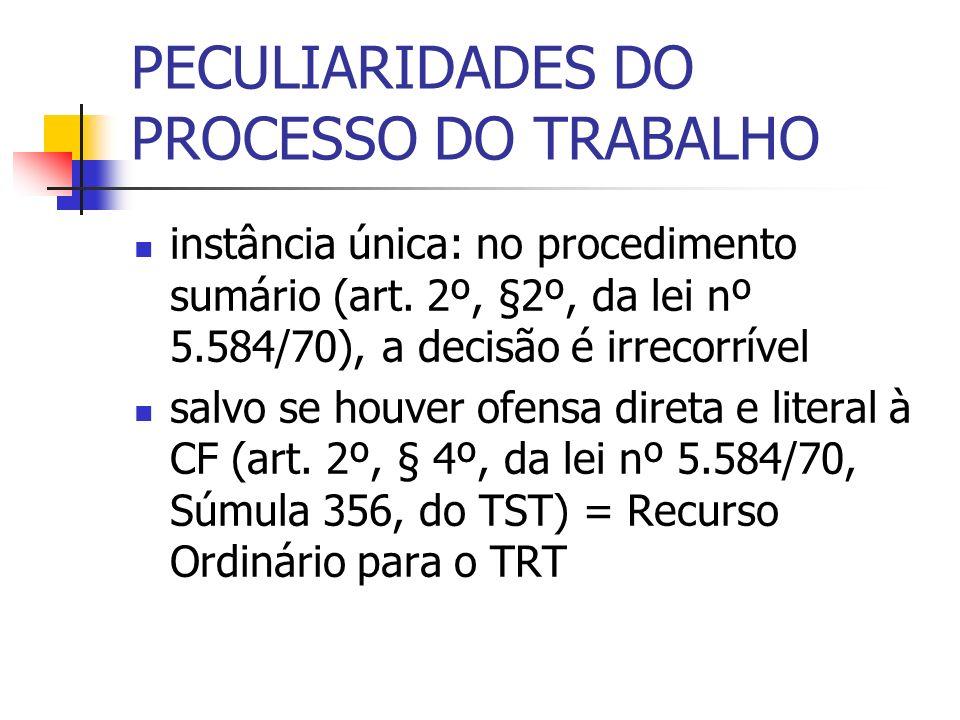 PECULIARIDADES DO PROCESSO DO TRABALHO