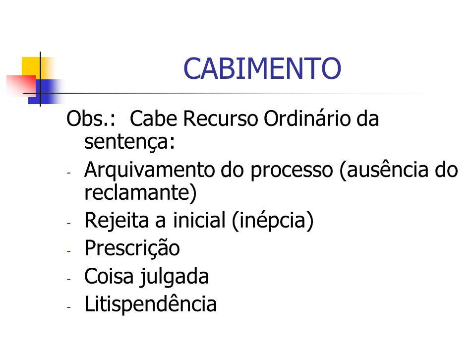 CABIMENTO Obs.: Cabe Recurso Ordinário da sentença: