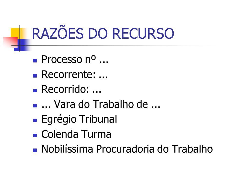 RAZÕES DO RECURSO Processo nº ... Recorrente: ... Recorrido: ...