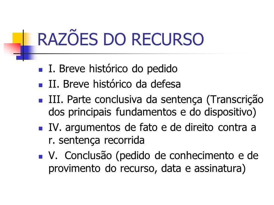 RAZÕES DO RECURSO I. Breve histórico do pedido