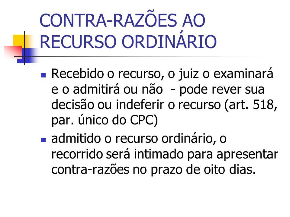 CONTRA-RAZÕES AO RECURSO ORDINÁRIO