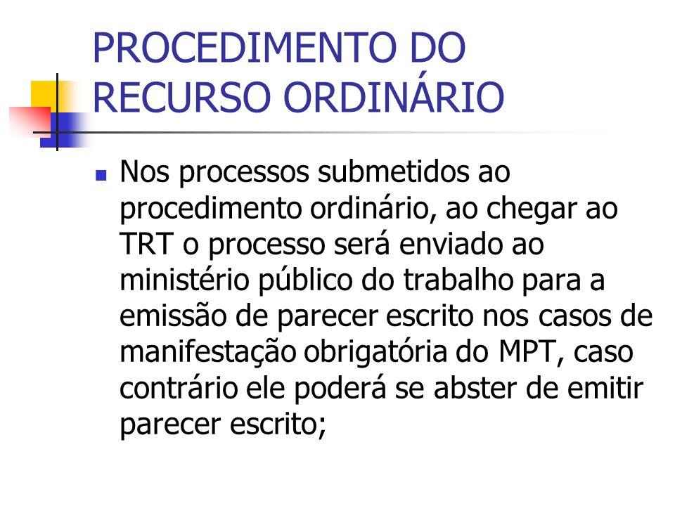 PROCEDIMENTO DO RECURSO ORDINÁRIO