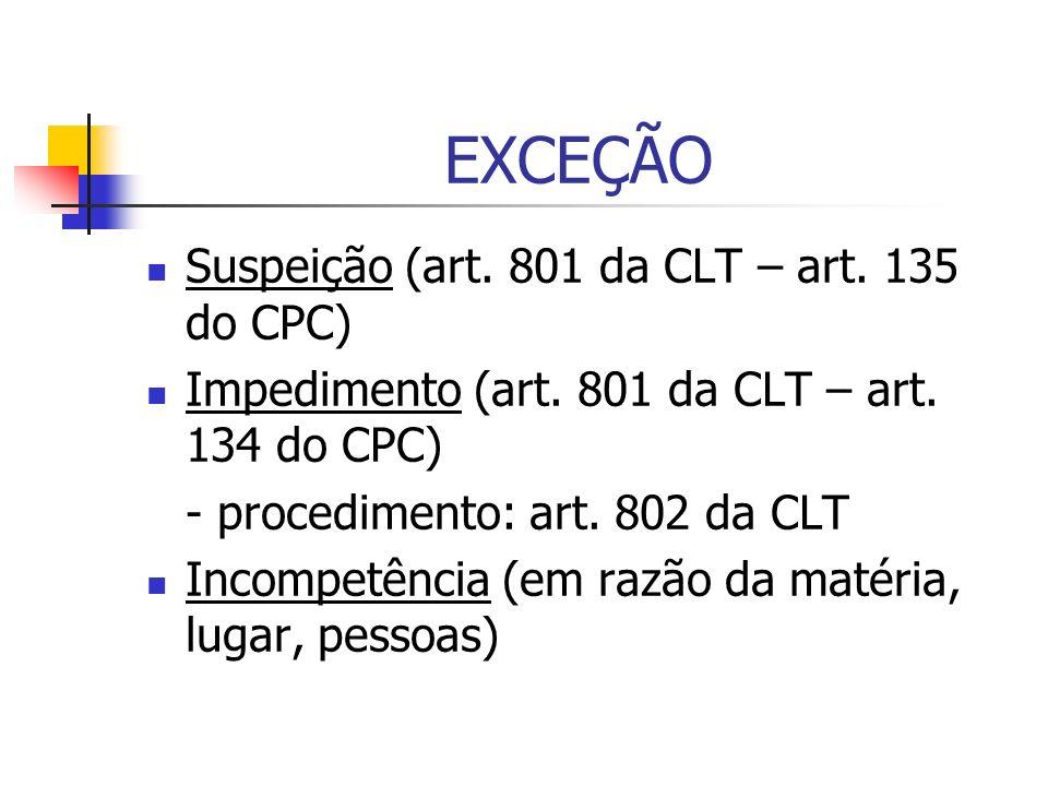 EXCEÇÃO Suspeição (art. 801 da CLT – art. 135 do CPC)