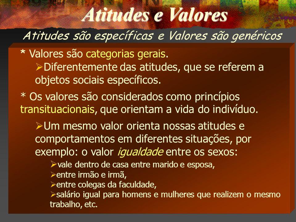 Atitudes e Valores * Valores são categorias gerais.