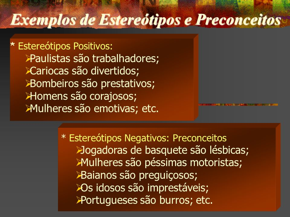 Exemplos de Estereótipos e Preconceitos