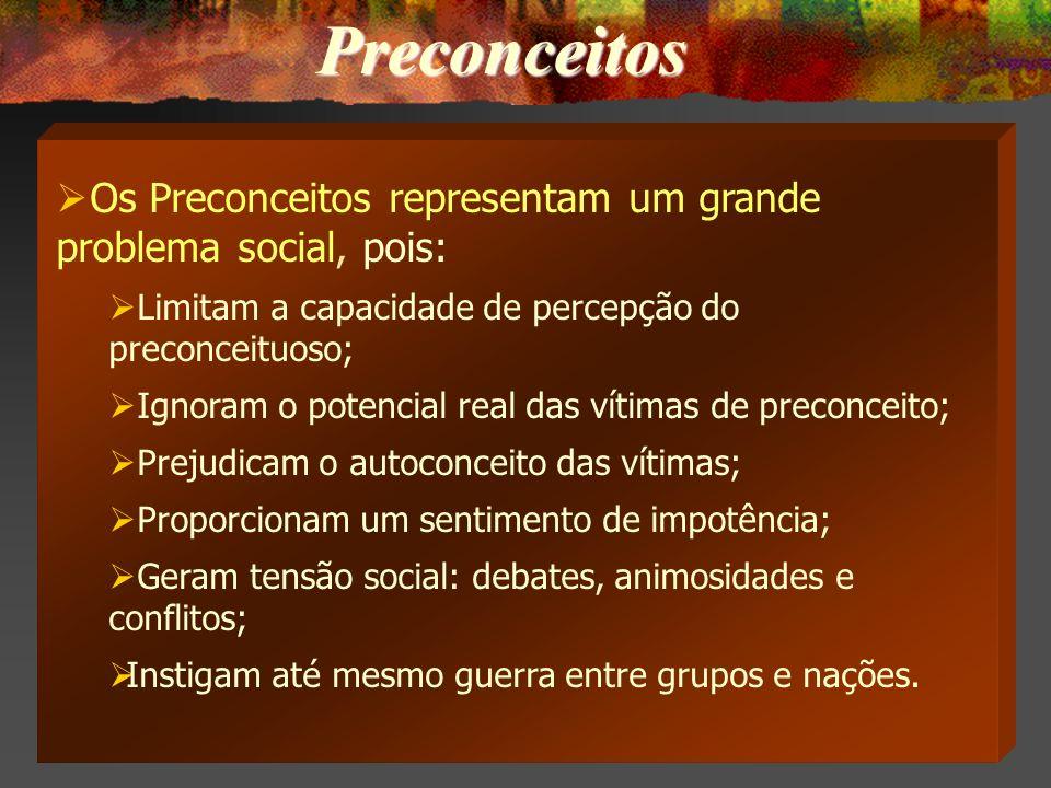 Preconceitos Os Preconceitos representam um grande problema social, pois: Limitam a capacidade de percepção do preconceituoso;