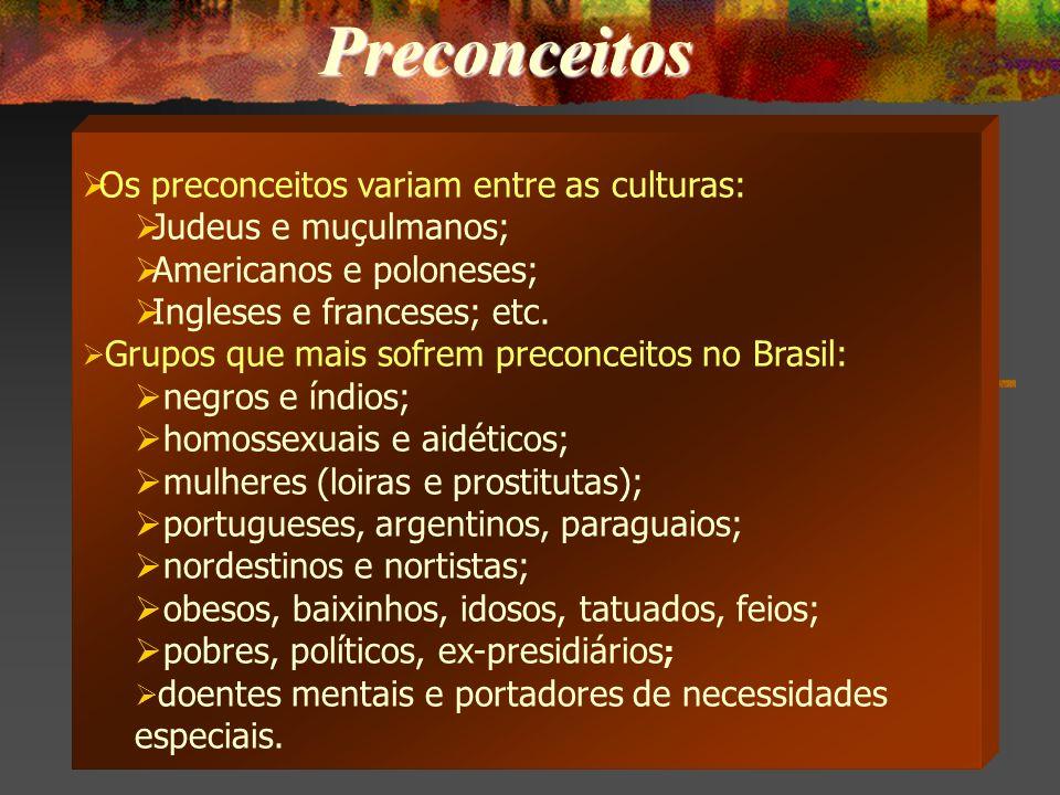 Preconceitos Os preconceitos variam entre as culturas: